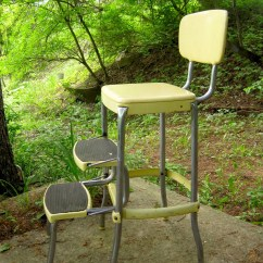Retro Chair Step Stool Neutral Posture Icon Vintage 1950s Stylaire Fold Out Yellow And