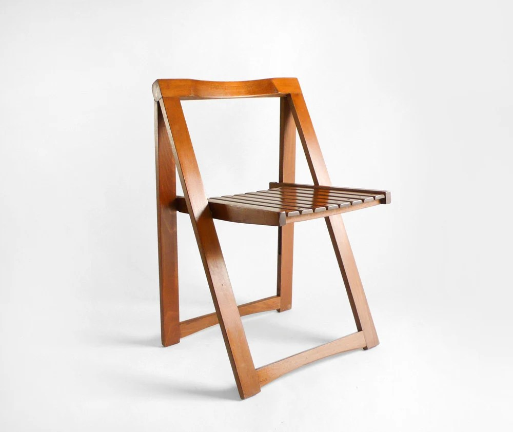 Items similar to Mid Century Wood Folding Chair on Etsy