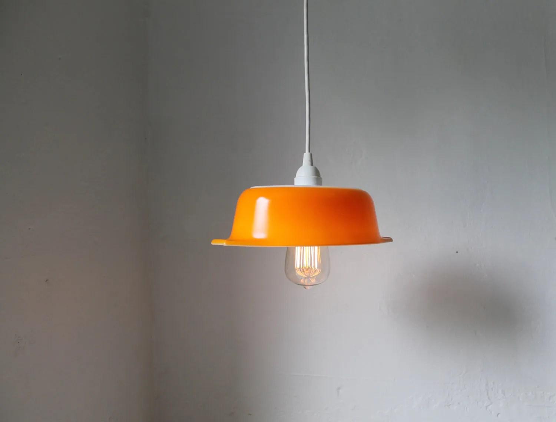 Orange Upcycled Vintage Pyrex Bowl Pendant Light