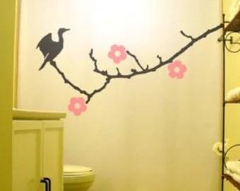 wire birds shower curtain bird on a wire raven crow blackbird
