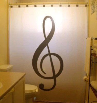 Treble Clef Shower Curtain Music Note Bathroom Decor Kids Bath