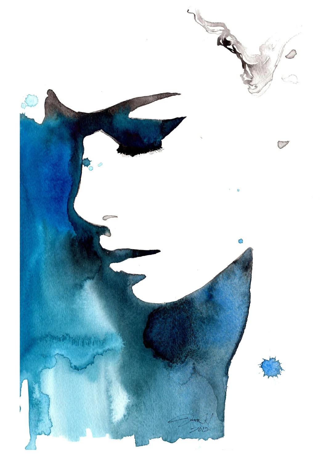 Print from original watercolor fashion illustration by Jessica Durrant titled Black and Blue for You - JessicaIllustration