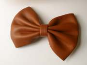 vintage brown leather hair bow