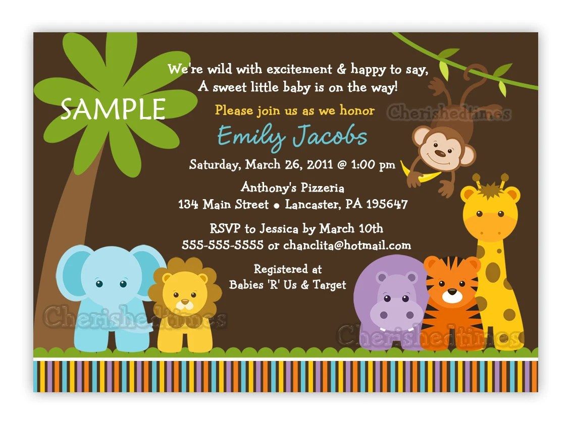 Safari Animals Baby Invitations Shower