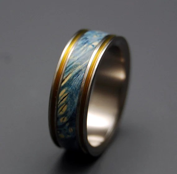 Titanium Wedding Ring Wood Ring Wedding Band Wooden Ring