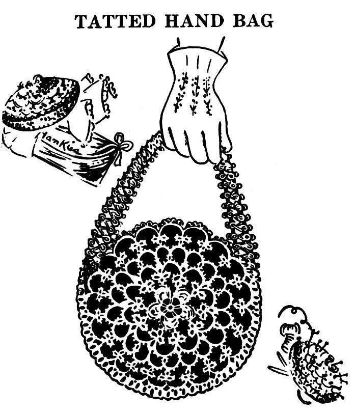 Tatted Lace Purse Hand Bag Vintage pattern 1948