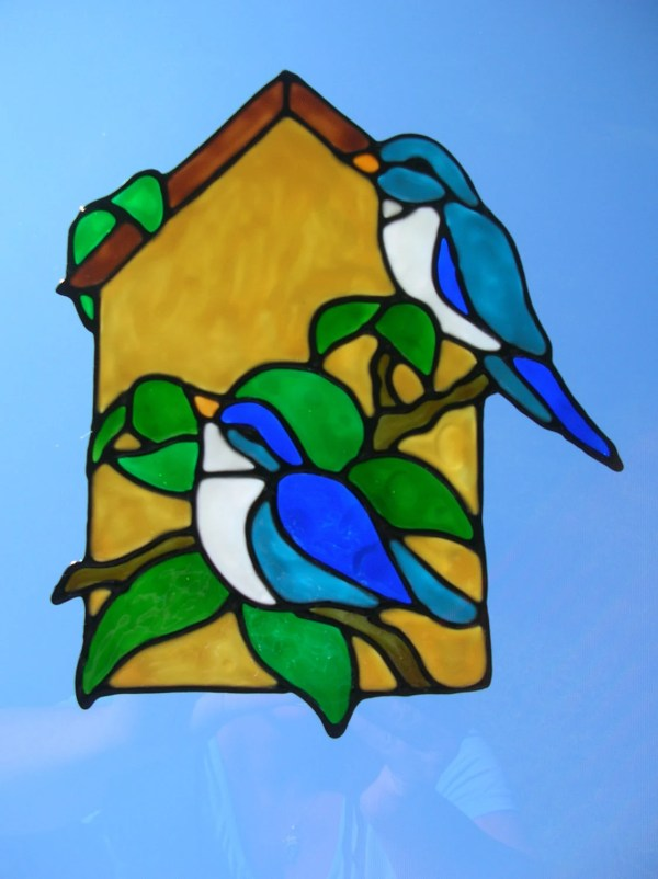 Spring Birds Birdhouse Stained Glass Window Cling