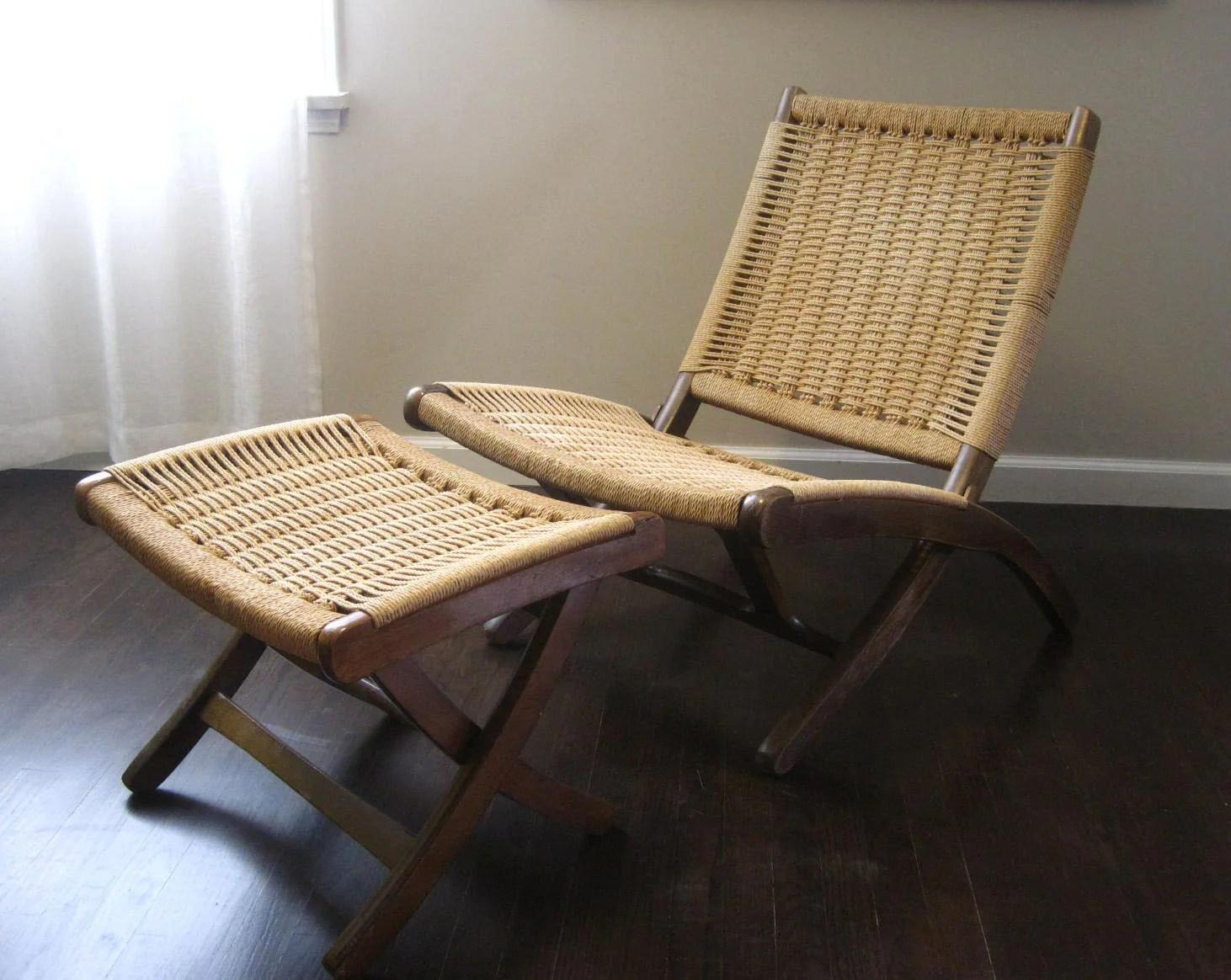 Mid Century Danish Modern Wegner Inspired Rope Lounge Chair