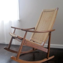 Danish Modern Rocking Chair Plastic Pool Chaise Lounge Chairs Reserved Mid Century Woven Rope