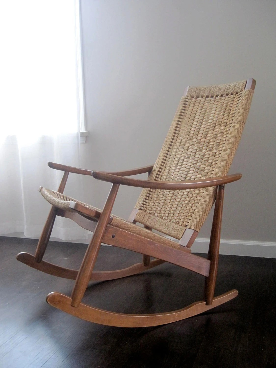 mid century modern rocking chair walmart portable high reserved danish woven rope