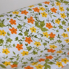 Kitchen Shelf Liner Wooden Toy Kitchens Vintage Retro Yellow Orange Floral Vinyl Contact Paper
