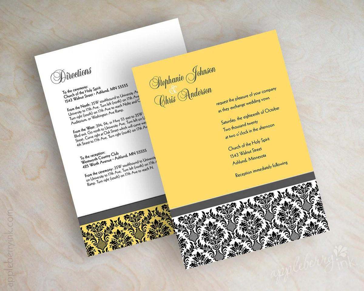 Wedding Invitation Damask Wedding Stationery Victorian Vintage Golden Yellow Charcoal Gray