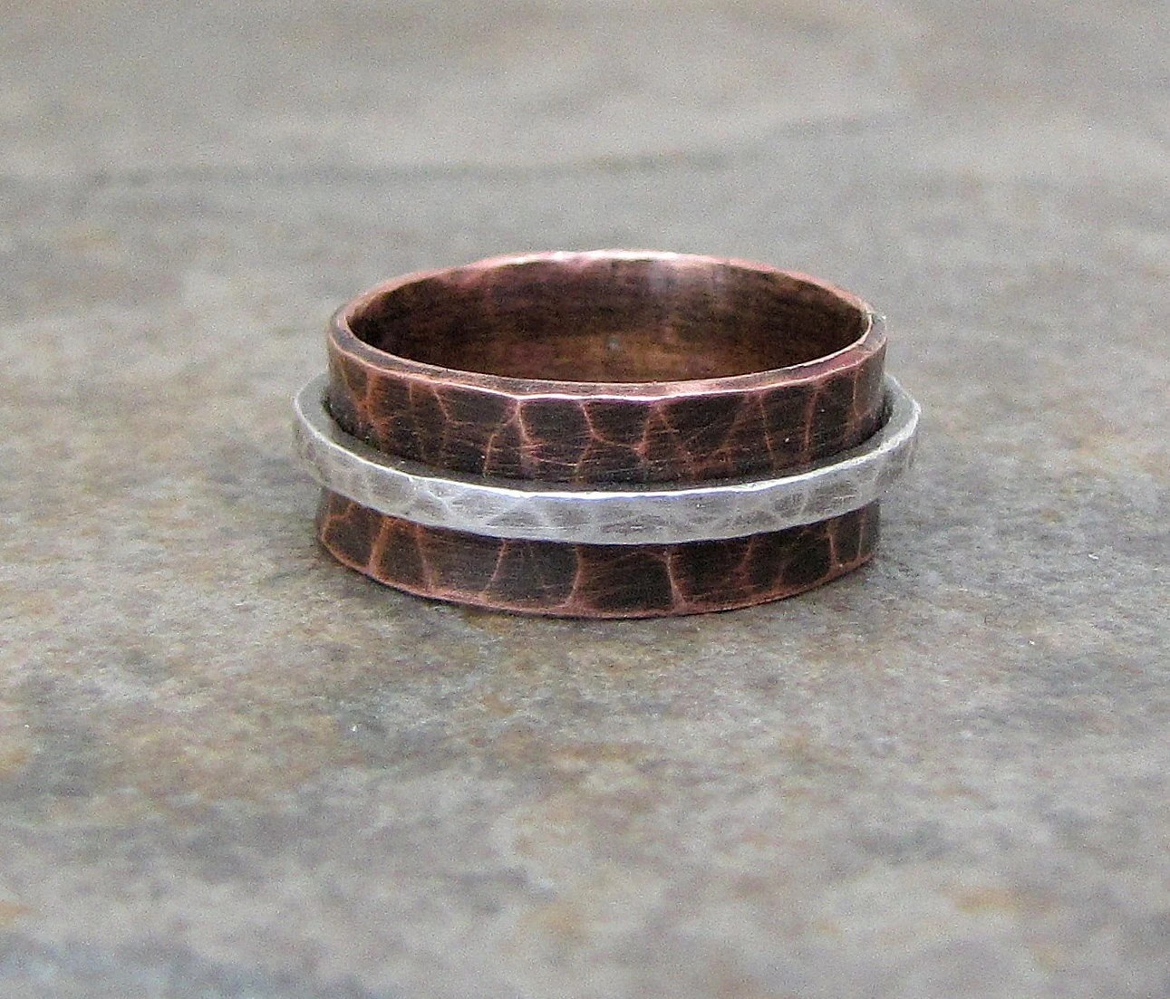 Copper Hammered Spinner Silver Oxidized Wide Ring