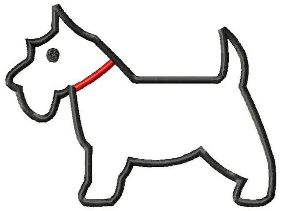 Scottie Dog Machine Embroidery Applique by