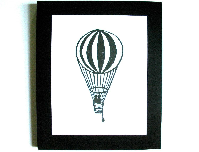 LINOCUT PRINT - Hot air balloon BLACK 8x10 letterpress poster on cotton paper - valentine - thebigharumph