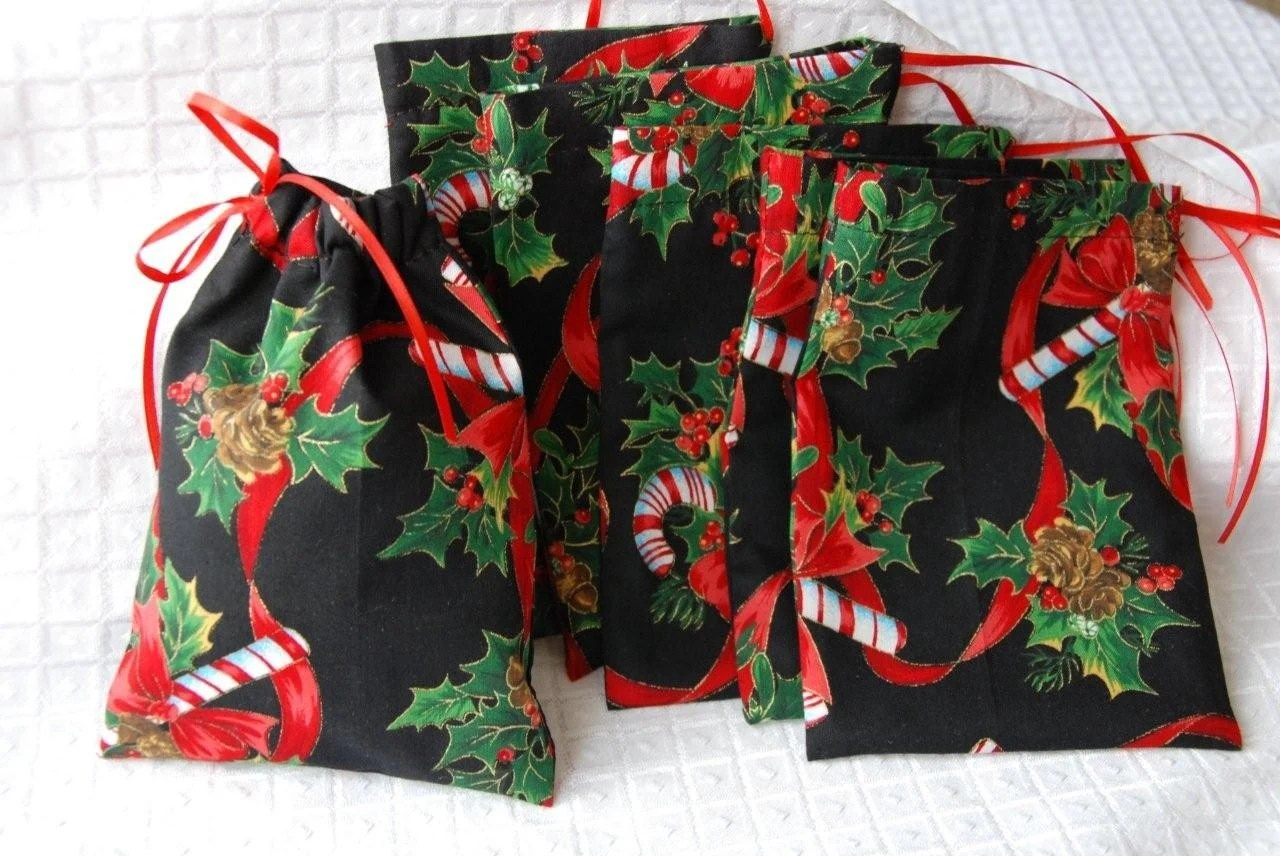 Christmas Gift Bag With Drawstring Closure In Christmas Candy