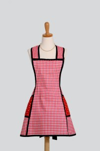 Vintage Inspired Apron : Sassy Short Retro Style Apron in Red