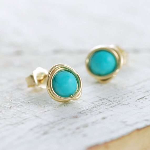 Turquoise Post Earrings Wrapped in 14k Gold Fill aubepine