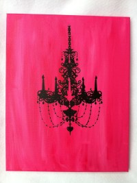 Black and Pink Chandelier Wall Art Mounted Canvas 11 x 14