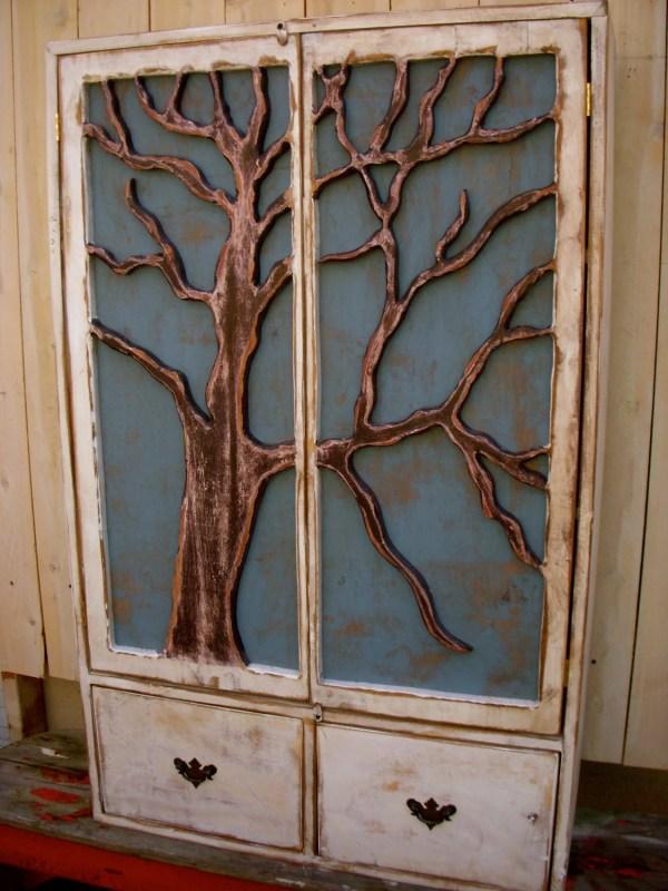 Local Furniture Shelf Oak Tree Cabinet Artistic