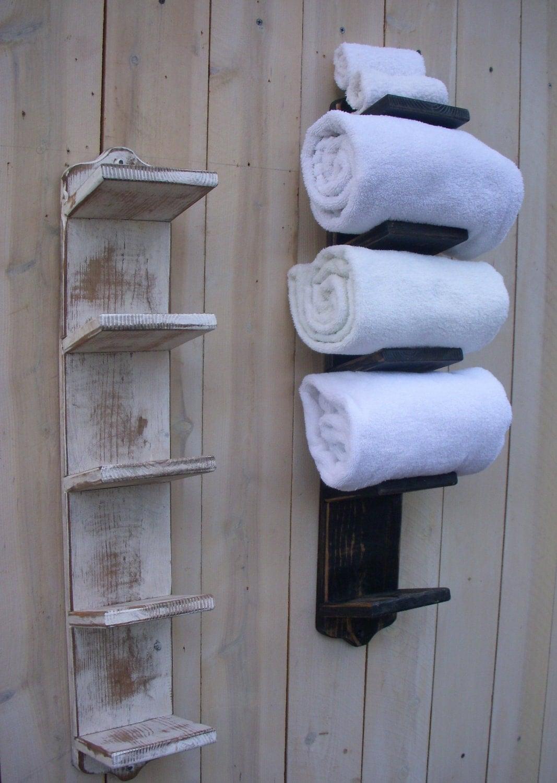 Handmade Towel Rack Bath Decor Wood Shabby Cottage