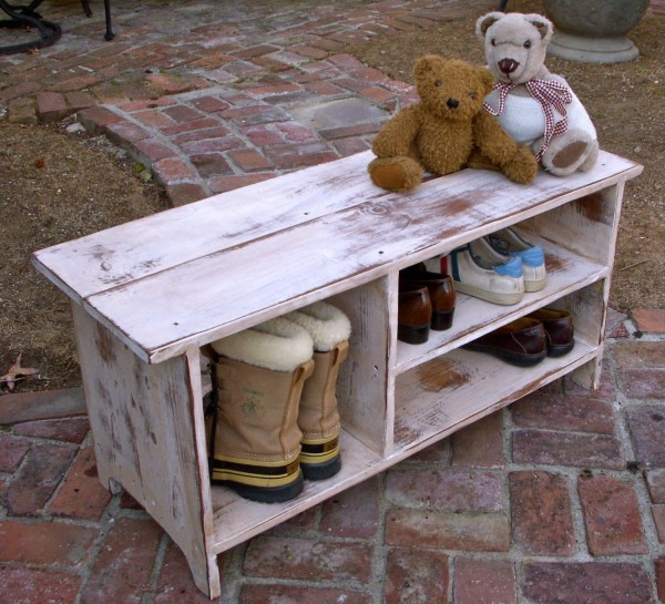 Wood Shoe Storage Bench