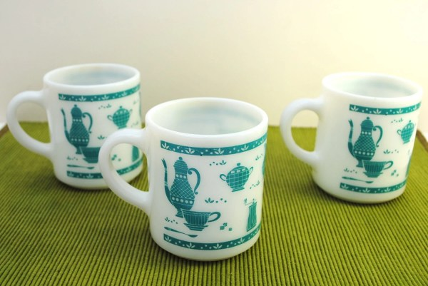 Vintage 1950s Coffee Mugs Turquoise Kitchen Aids Design Retro