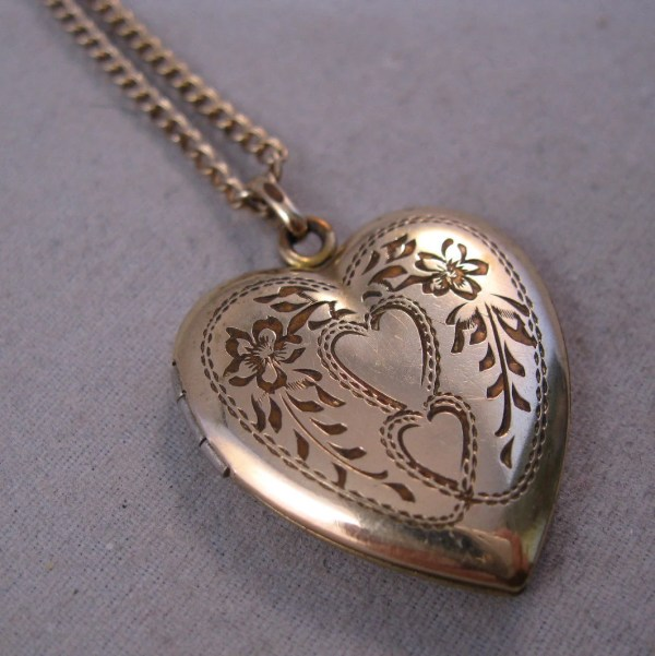 1940s Heart Locket 12k Gold Filled Stetson Signed With Chain