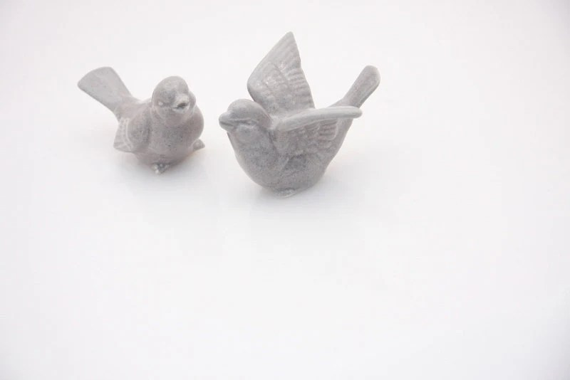 Bird Wedding  cake toppers in blue spotted gray - claylicious