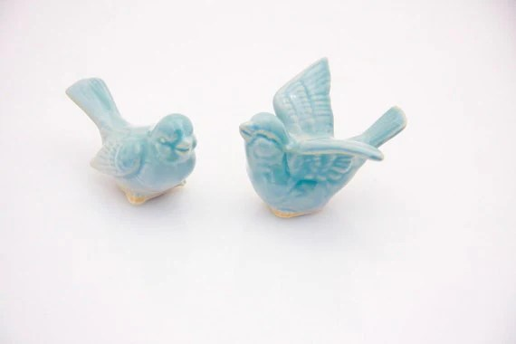 Bird Wedding cake toppers in robins egg blue  love birds in a wedding dance