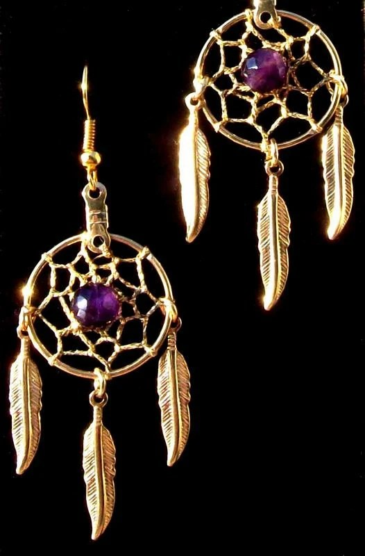 Dream catcher earrings gold with amethyst by SerenityJewelry