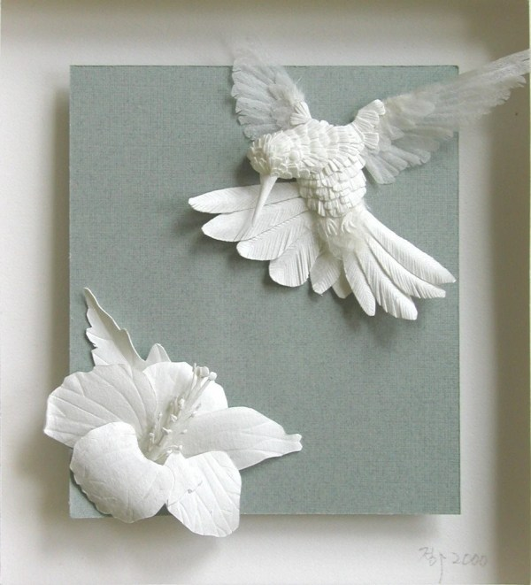 Hummer And Flower Framed Custom Paper Sculpture