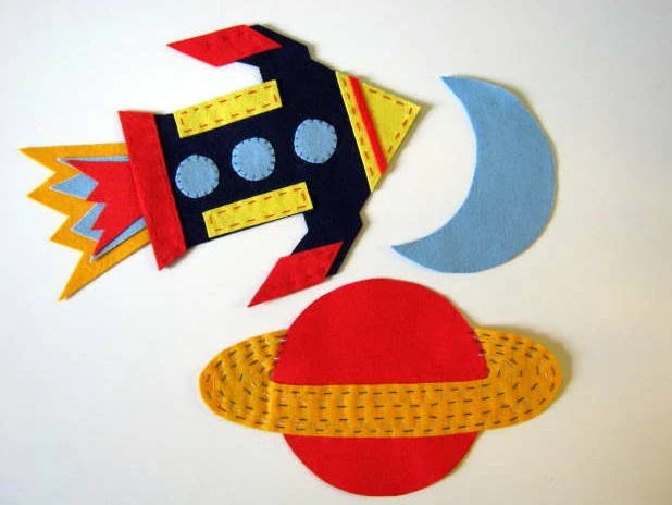SALE Rocket, planet and moon felt wall decals