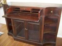 Mahogany Credenza Liquor Cabinet Bookcase Vintage Poppy
