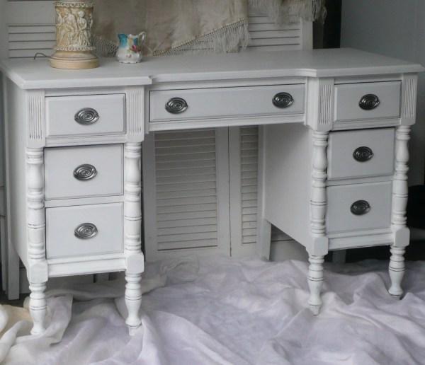 Vintage Desk Vanity .shabby Chic. White