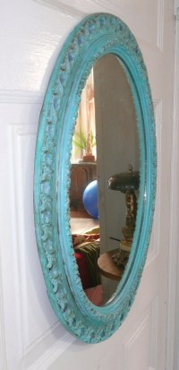 Oval Mirror in Turquoise Shabby Finish by poppycottage on Etsy