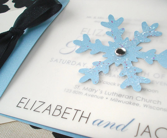 WINTER WONDERLAND Snowflake Wedding Invitation Or Save The