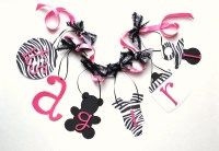 Zebra baby shower decorations Hot Pink and Black banner with