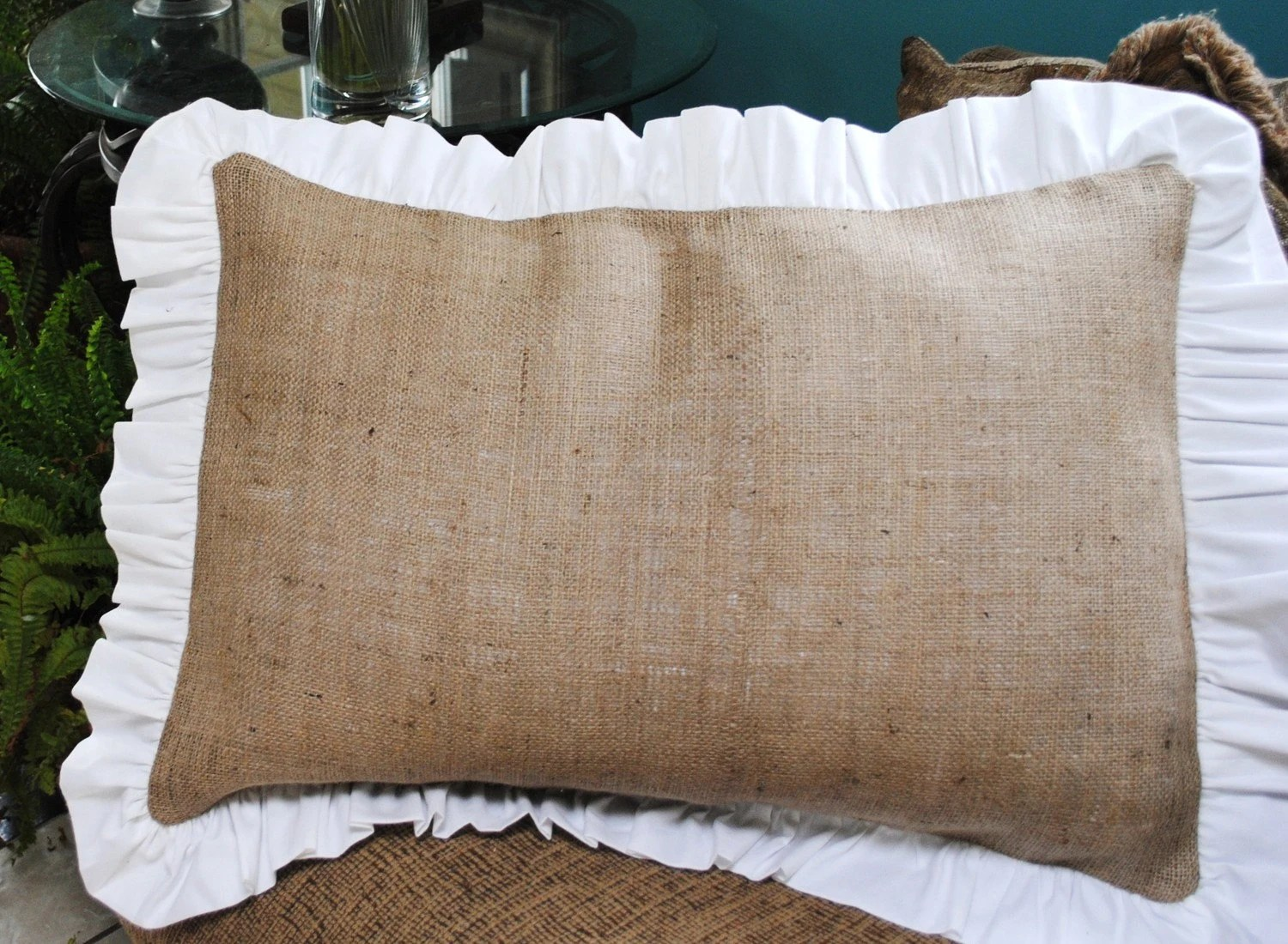 Burlap Pillow with Ruffle Edge