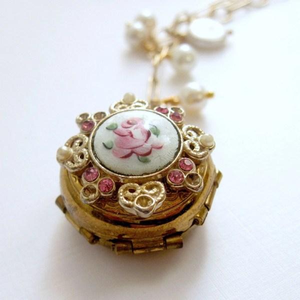 Vintage Locket Necklace Guilloche Four