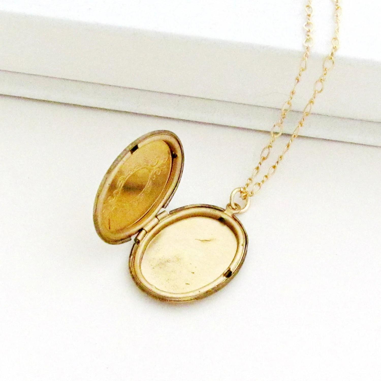 Gold Locket Necklace Art Deco Necklace Photo Locket Oval