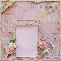 Shabby Chic Premade 12 x 12 Scrapbook Layout Prima Dusty