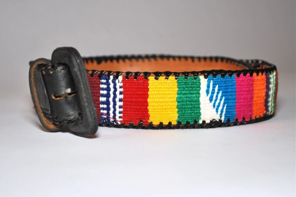 Vintage Guatemalan Colorful Fabric And Leather Belt