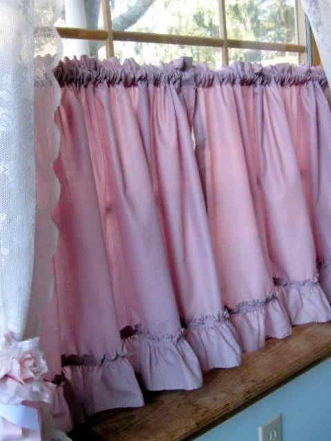 Vintage Cafe Curtains Frills Window Curtain Dusty Rose