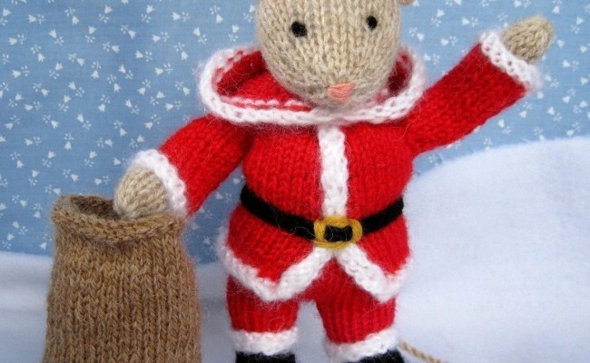 Santa Mouse Knitted Toy Doll Or Festive Ornament Instant