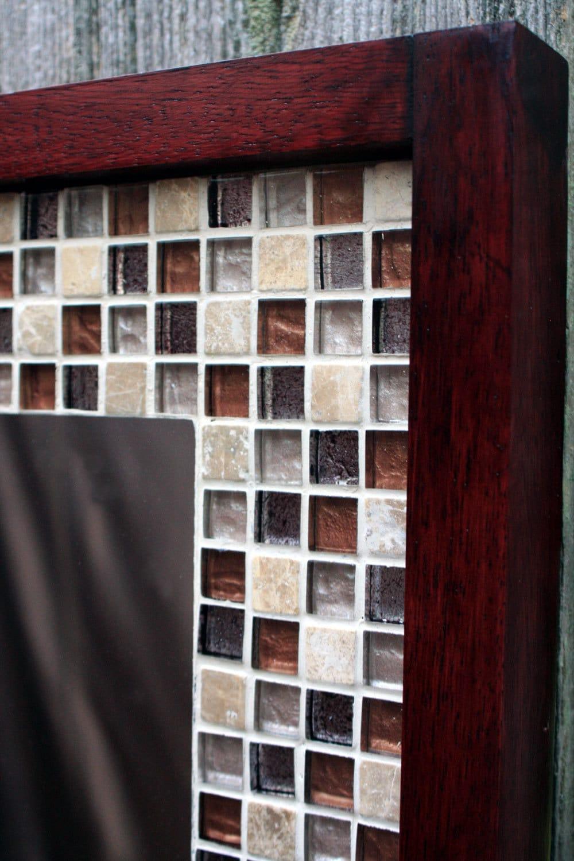 Glass Mosaic Tile Framed Mirror Tile Framed Mirror Brown