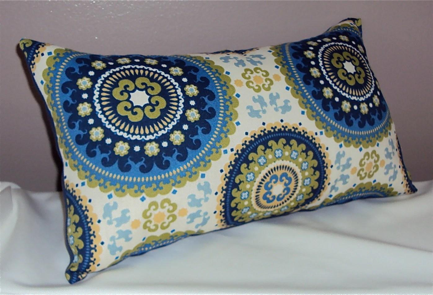 Blue Indoor Outdoor Mod Bindis Medallion Lumbar Pillow