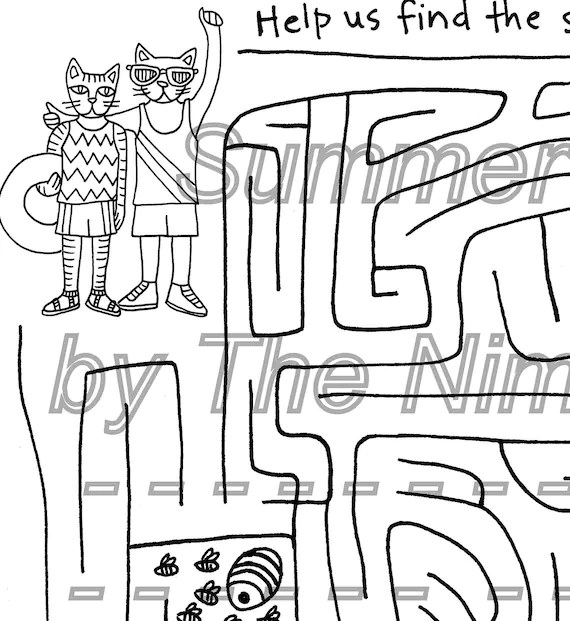 Printable Coloring Page Summer Cats Maze downloadable PDF