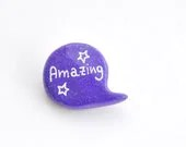 Purple polymer clay pin brooch - madamaRobe