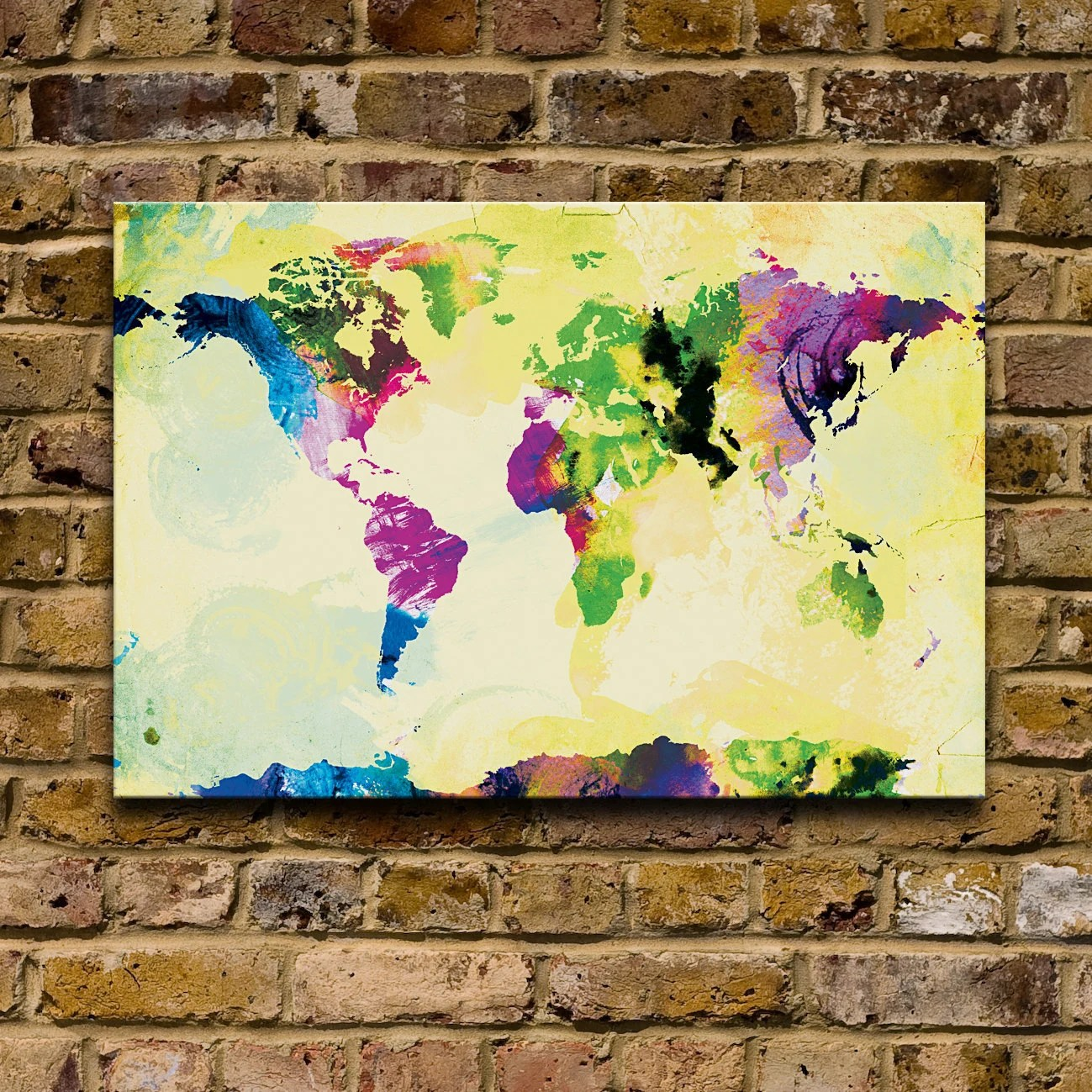 One Colourful World (yellow version) - 12x18 Canvas Print